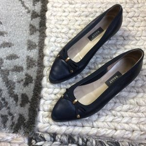 Bally Shoes - BALLY Navy Blue Leather Flats